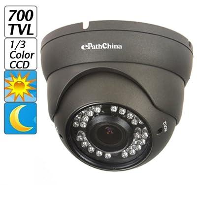 "ePathChina® 700TVL 1/3"" Sony CCD 2.0 Mega Varifocal Zoom CCTV Surveillance Camera with OSD Menu Night Vision Infrared to 100 Feet, Black Dome Day&Night IR LEDs CCTV Survillance Camera for Indoor/Home/Small Business Security Surveillance"