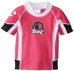 Baby Banz Girls Chlorine Resistant Short Sleeve Rash Top, Pink/Black, 3-6 Months