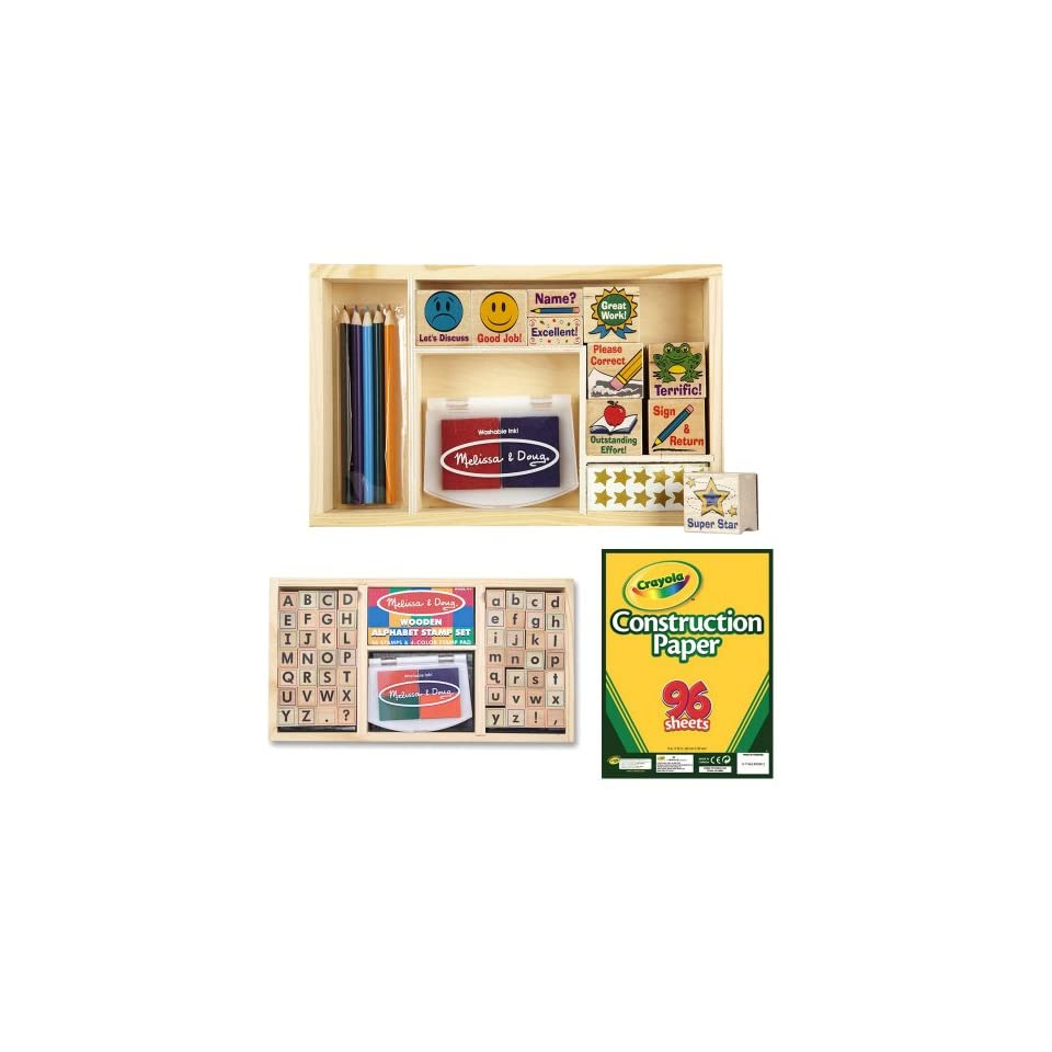 Melissa Doug Deluxe Alphabet And Classroom Stamp Sets With