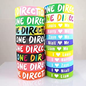 20pcs I Love ONE Direction + Love Me 1d Bracelet Silicone Wristband N20 by summersha