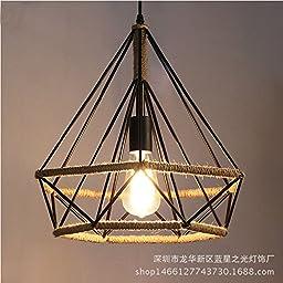 Vintage iron diamond birdcage chandelier rope diameter 45cm