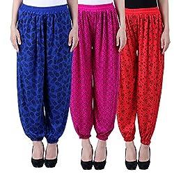 NumBrave Printed Viscose Blue & Purple & Red Harem Pants (Pack of 3)