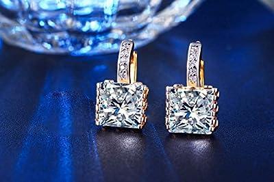 Superhai Exquisite Fashion Classic Rectangular Diamond Earrings Earrings Bridal Earrings Wedding