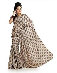 Designersareez Women Khadi Silk Printed Cream Saree With Unstitched Blouse(996)