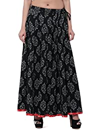 Mystique India Black Printed Cotton Flared Skirt