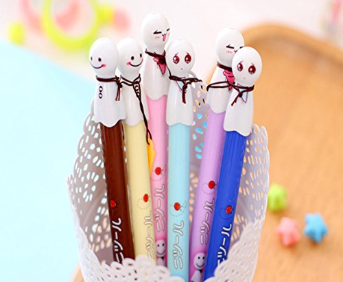 MOACC Set of 6 Japanse Sunny Doll Ornament Premium Black Gel Ink Pen Lovely Expression Rollerball Roller Ball Pen Fine Point Creative Stationery for Artist School Office Family Use, Black Ink
