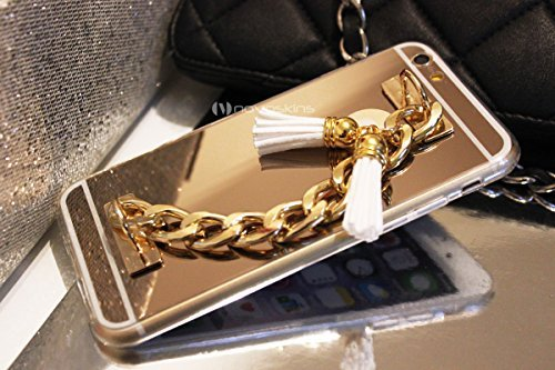 iPhone 6s / 6 Novoskins Gold Oro Luxe Clutch Chain Mirror Specchio Reflector Case with Bianco Fringe Tassels (A/W Designer Collection)