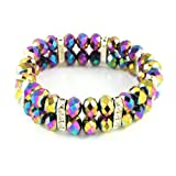 Bleek2Sheek Rainbow Vitrail Crystal and Rhinestone Stretch Bracelet