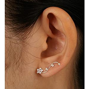 925 Sterling Silver Clear Swarovski Crystal Flower Vine Design Cuff Earrings for Women