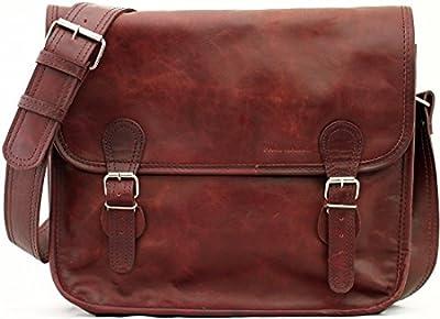 LA SACOCHE (M) besace en cuir souple couleur Brun d'automne format A4 style Vintage PAUL MARIUS