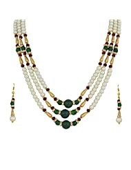 Nisa Pearls Green And Golden Beaded Necklace Set - B00S1H53KQ