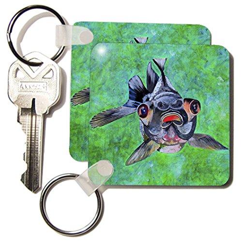 Kc_46714_1 Taiche - Acrylic Painting - Fish - Black Moor Goldfish - Black Moor Goldfish, Telescope Goldfish, Goldfish, Dragon Eye Goldfish - Key Chains - Set Of 2 Key Chains