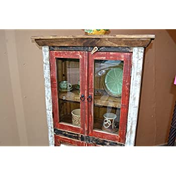 Crafters and Weavers Rustic Distressed Reclaimed Wood Curio, Glass Cabinet /Bookcase /Hutch