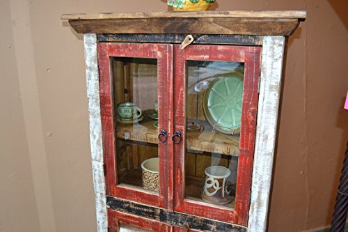 Crafters and Weavers Rustic Distressed Reclaimed Wood Curio, Glass Cabinet /Bookcase /Hutch 1