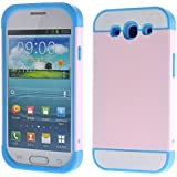 Foxnovo Multi-Color Dual-Layer-hart zurück Case Cover Schutzhülle für Samsung Galaxy S3 /i9300 (Sky-Blau + Pink)