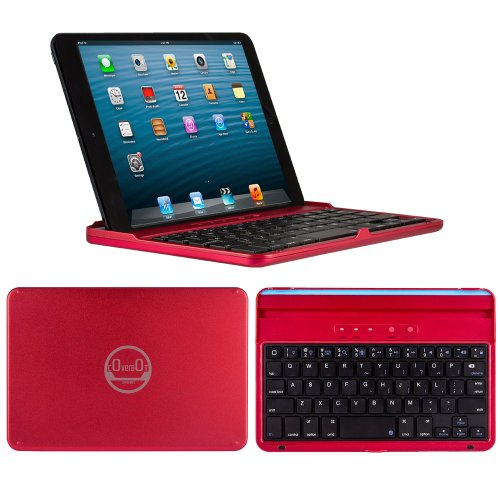 Coverbot Ipad Mini & Ipad Mini With Retina Display Keyboard Case And Stand Red - Aluminum Bluetooth Keyboard Case With Integrated Ios Command Keys For Ipad Mini & Ipad Mini With Retina Display