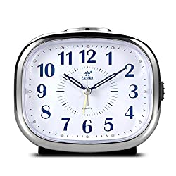 Non Ticking Desk Alarm Clock, BonyTek Analog Quartz Alarm Clock with Alarm Snooze Silent Nightlight, Battery Powered