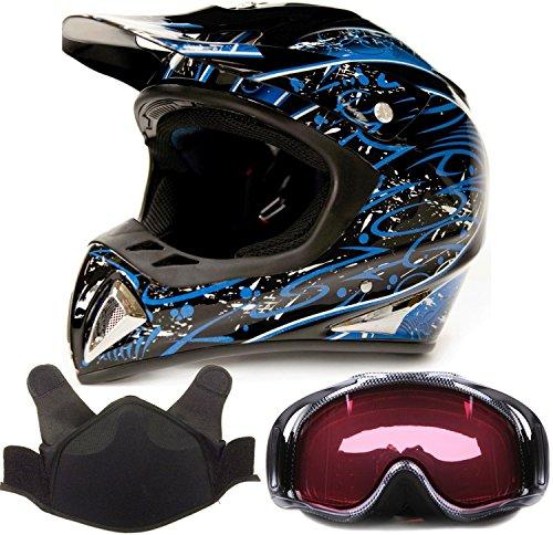 Adult Snocross Snowmobile Helmet & Goggle Combo - Blue , Carbon Fiber Print ( XXL ) (Snow Machine Helmet compare prices)