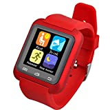 EasySMX Bluetooth Smart Watch U80 Wrist Watch Sport for Samsung S4/Note 2/Note 3 HTC Android Phone (Red)
