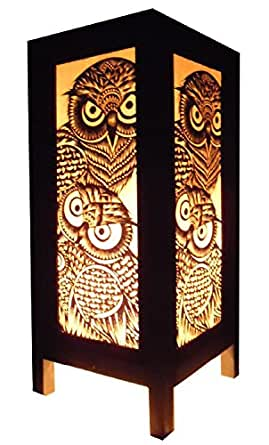 Thai Vintage Handmade Asian Oriental Handcraft Night Owl Bird Bedside Table Lights Or Floor Wood