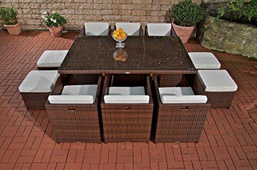CLP außergewöhnliche XXL Poly-Rattan Sitzgruppe MAUI (10 Stühle/Hocker, Tisch ca. 180 x 120 cm) INKL. bequemen Sitzauflagen, FARBWAHL braun-meliert