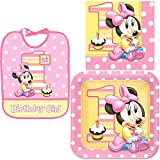 Minnie's 1st Birthday Tableware Pack Including 1 Baby Bib and Plates and Napkins for 16 Guests