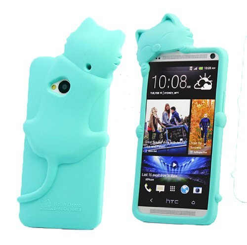 Jbg Light Blue 3D Cute Cat Kiki Animal Gel Silicone Rubber Soft Case Cover Skin For Htc One M7 With Earphone Anti Dust