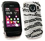 Emartbuy® Nokia C2-02 Diamante Hard Back Cover Zebra Black White