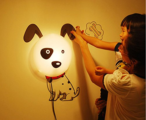 3d Cute Dog LED Wall Lamp Light DIY Wall Stickers Wallpaper for Kids Bedroom
