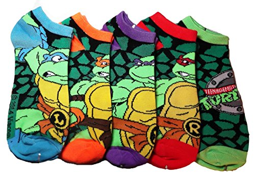 Teenage Mutant Ninja Turtles SET OF 5 PAIRS Characters & Logo ANKLE SOCKS