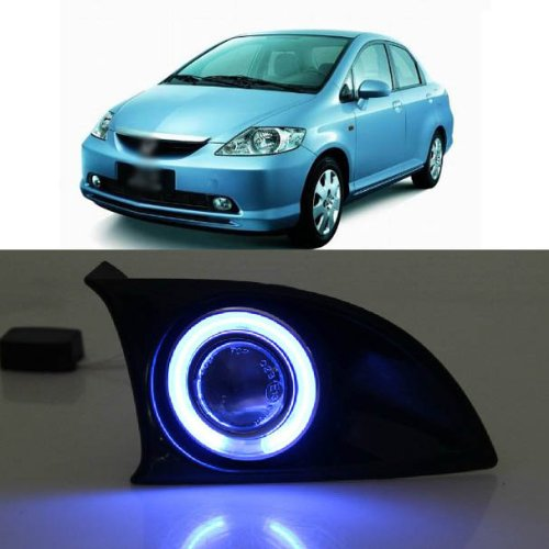 Auptech Innovative Super Ccfl Technology Angel Eye Fog Light Drl Exact-Fit Fog Bumper Cover With Projector Lens For Honda Fit 2005-2007