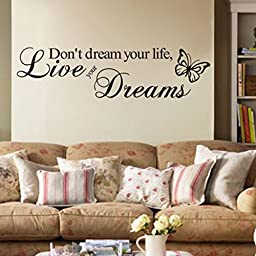English Word Live Your Dream Butterfly Room Removable Wall Sticker Poster