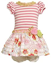 Bonnie Baby Girls Infant Knit Bodice To Drop Waist Print Ruffle Skirt, Pink, 12 Months