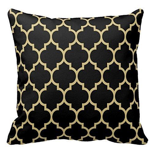 Home Dekorative wendbar schwarz und gold tan Vierpass-Muster Kissen werfen Kissenbezug Kissen Fall 45,7cm