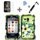 Rubberized Green Hawaiian Flower Snap on Design Case Hard Case Skin Cover Faceplate with Screen Protector, Case Opener and Stylus Pen for Samsung Galaxy Rush M830 - Boost Mobile