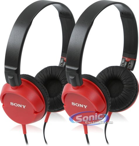 Sony Mdr-Zx100/Red Zx-Series On-Ear Monitor Headphones, Red (2-Pack)