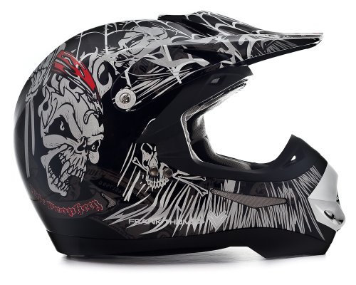 FRANK THOMAS MX ADULTS ATV QUAD DIRT MOTOCROSS OFF ROAD LIGHT WEIGHT SKULL HELMET J&S (SMALL 56CM)