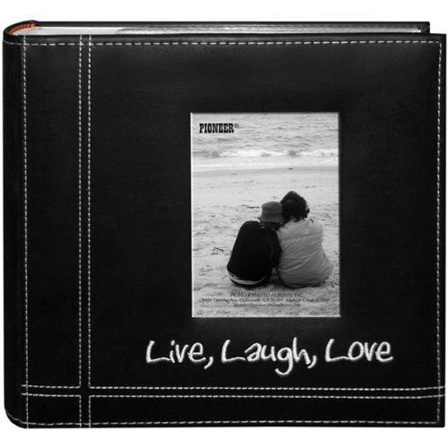 Pioneer-Photo-Albums-Embroidered-Live-Laugh-Love-Black-Sewn-Leatherette-Frame-Cover-Album-for-4x6-Prints