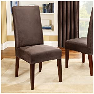Sure Fit Stretch Leather Short Dining Room Chair Cover Brown Dining Chair Slipcovers