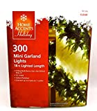 Christmas Mini Garland Lights - 300 Clear Bulbs - green Wiring - indoor outdoor - steady.