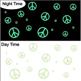 Glow in the Dark Peace Symbols Decals Sticker Removable Wall Art