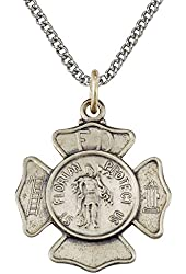"5/8"" Sterling Silver Firefighter and St. Florian Shield Medal Necklace on 18"" Chain"