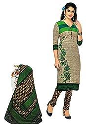 Salwar Studio Grey & Green Cotton Floral Printed Dress Material SHREEGANESH-915