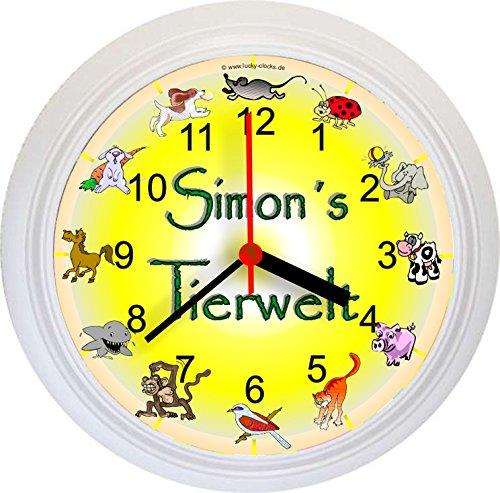 """Lucky Clocks Namenswanduhr + Vorname """"Tierwelt"""" weiß Wanduhr Tiere Uhr Tieruhr Tierreich Kinderuhr Geschenk zum Geburtstag Geburtstagsgeschenk Taufe Geburt Baby Taufgeschenk Nachwuchs Kinder Kids Zwillinge bestellen"""