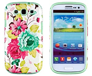 DandyCase 2in1 Hybrid High Impact Hard Pink Floral Pattern + Mint Green Silicone Case Cover For Samsung Galaxy S3 i9300 + DandyCase Screen Cleaner