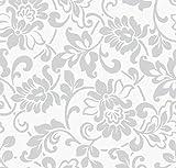 Klebefolie - Möbelfolie Ornamente Silber Grau - 45 cm x 200...