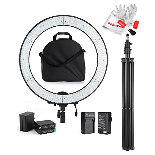 Professional LA-650B Photography 600 LED Ring Video Light Dual Power Supply Stepless Adjustable LED Video Lighting Kit with 6600mah Battery Pack and Light Stand for Video, Portrait and Photography Lighting
