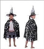 魔女 ウィッチ 子供 コスプレ 仮装 衣装 帽子 マント セット 銀/黒(着丈90cm) ハロウィン パーティ―【little Monster】H029