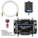 Arris 2-Port Cable, Modem, TV, OTA, HDTV Amplifier Splitter Signal Booster with Passive Return And Coax Cable Kit