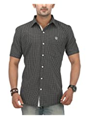 SPEAK Men's Black Checkered Premium Cotton Half Sleeves Casual Shirt